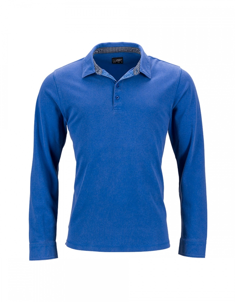 Herren Polo Used Look Langarm