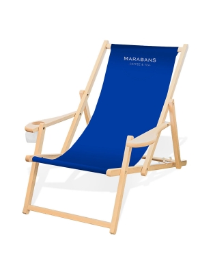 CULTUS Deck Chair Beechwood Natural with armrests and cup holder