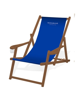 CULTUS Deck Chair Beechwood Brown with armrests and cup holder
