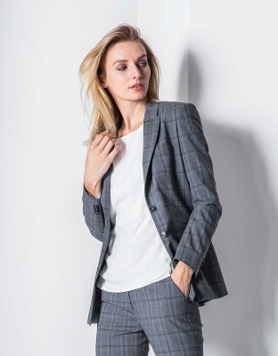 Damen Blazer Premium Regular Fit Glencheck
