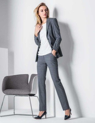 Women's Trousers Premium Regular Fit Glencheck