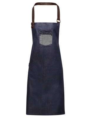Denim Bib Apron Division Waxed Look