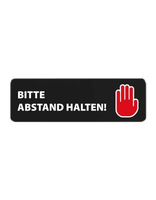 """Ansteck-Schild """"Abstand halten"""" mit Magnet 78x25 mm"""