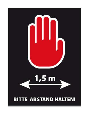 """Tischaufsteller """"Bitte Abstand halten"""" 15x20 cm"""