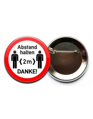 """Button """"Abstand halten 2m"""" zum Anstecken 3,7cm"""