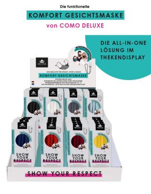 Thekendisplay mit COMO DELUXE Komfort Gesichtsmasken - 80 Stück (8 Farben à 10 Masken)