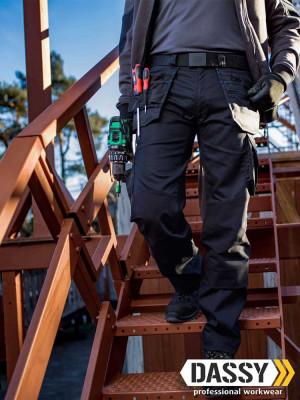 Dassy Arbeitshose Flux mit Stretch, Holstertaschen und Kniepolstertaschen