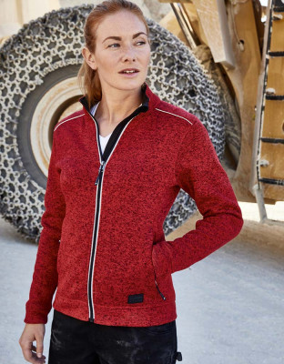 Damen Workwear Knitted Fleece Jacke Solid